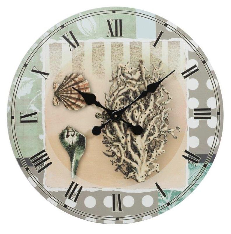 Настенные часы Maritempo, DG-D-WC05Часы<br>Настенные часы Maritempo — роскошный, но в то же время изысканный элемент декора помещения, оформленного в модном кантри-стиле. Изготовленные из прочного картона и оснащенные качественным часовым механизмом они прослужат вам долгие годы. Оригинальные морские мотивы — ракушки и кораллы — на нежном фоне не оставят равнодушным ни одного ценителя красивых вещей. Украсьте свой дом со вкусом!<br><br>Цвет: Голубой, Белый, Бежевый<br>Материал: Картон, Часовой механизм<br>Вес кг: 1.5<br>Длинна см: 4<br>Ширина см: 66<br>Высота см: 66