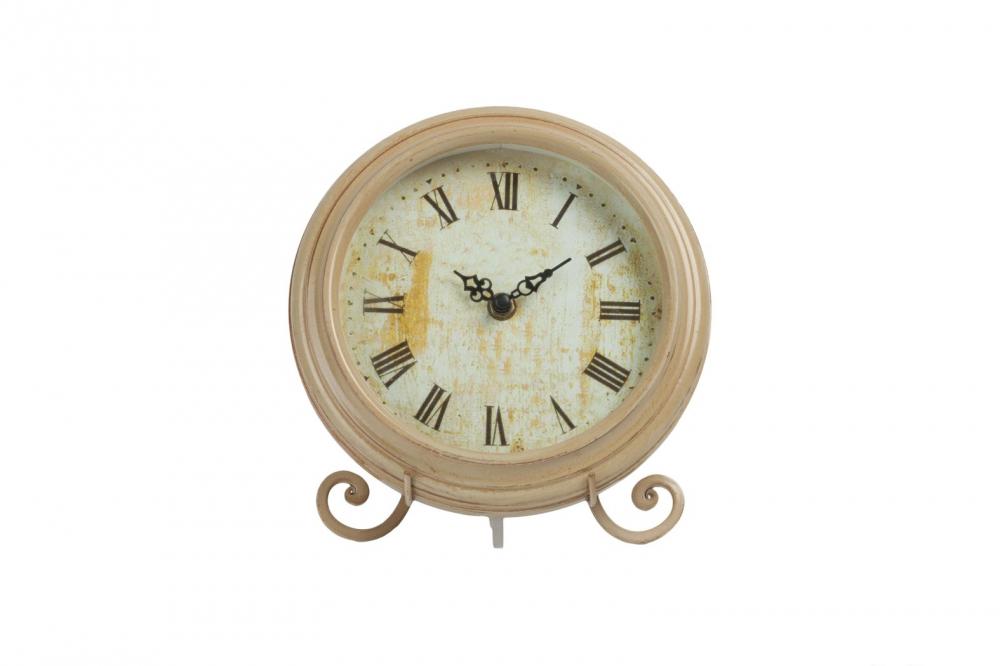 Часы на подставке PitoneЧасы<br>Часы на подставке Pitone выполнены в архаичном <br>стиле Прованс: искусственная жёлтизна — <br>признак старины — по всей поверхности циферблата, <br>изысканные кованные металлические ножки, <br>простая форма, нежные цвет. Этот винтажный <br>элемент декора поможет наполнить вашу спальню, <br>кухню, гостиную и любую другую комнату оригинальностью <br>и очарованием французской провинции.<br><br>Цвет: Песочный<br>Материал: МДФ, Стекло, Часовой механизм<br>Вес кг: 0,8<br>Длина см: 20<br>Ширина см: 8<br>Высота см: 25