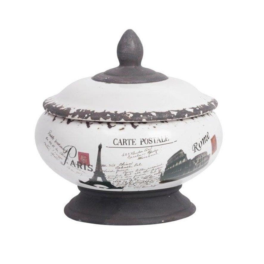 Декоративная ваза Correos VentruВазы<br>Декоративная ваза Correos Ventru — это изящный <br>элемент декора, который станет украшением <br>кухни и отличным помощником каждой хозяйки. <br>В таком аксессуаре можно хранить сладости <br>и другие мелкие продукты питания, а если <br>поставить вазочку в сервант или на полку, <br>то помещение заиграет по-новому. Нарисованные <br>достопримечательности Парижа, Рима и Лондона <br>по всей поверхности посуды придают ей особые <br>шарм и очарование.<br><br>Цвет: Белый, Коричневый<br>Материал: Керамика<br>Вес кг: 1,5<br>Длина см: 20<br>Ширина см: 20<br>Высота см: 20
