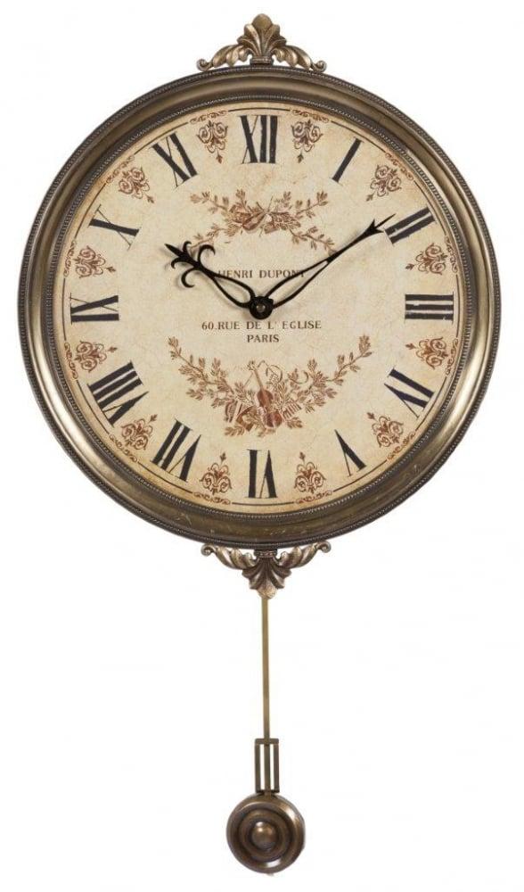 Настенные часы с маятником DupontЧасы<br>Настенные часы с маятником Henri Dupont придутся <br>по вкусу каждому человеку, ценящему уют <br>и комфорт. Они будут уместны в любой комнате <br>дома, оформленного в стиле Прованс, будь <br>то столовая, гостиная, спальня или прихожая. <br>Нежный бежевый циферблат и более темное <br>металлическое обрамление будут гармонично <br>сочетаться с общим интерьером, привнося <br>в него французский шик и деревенское очарование, <br>свойственные этому стилю.<br><br>Цвет: Бежевый, Коричневый<br>Материал: МДФ + Металл<br>Вес кг: 1,2<br>Длина см: 32<br>Ширина см: 32<br>Высота см: 2,5