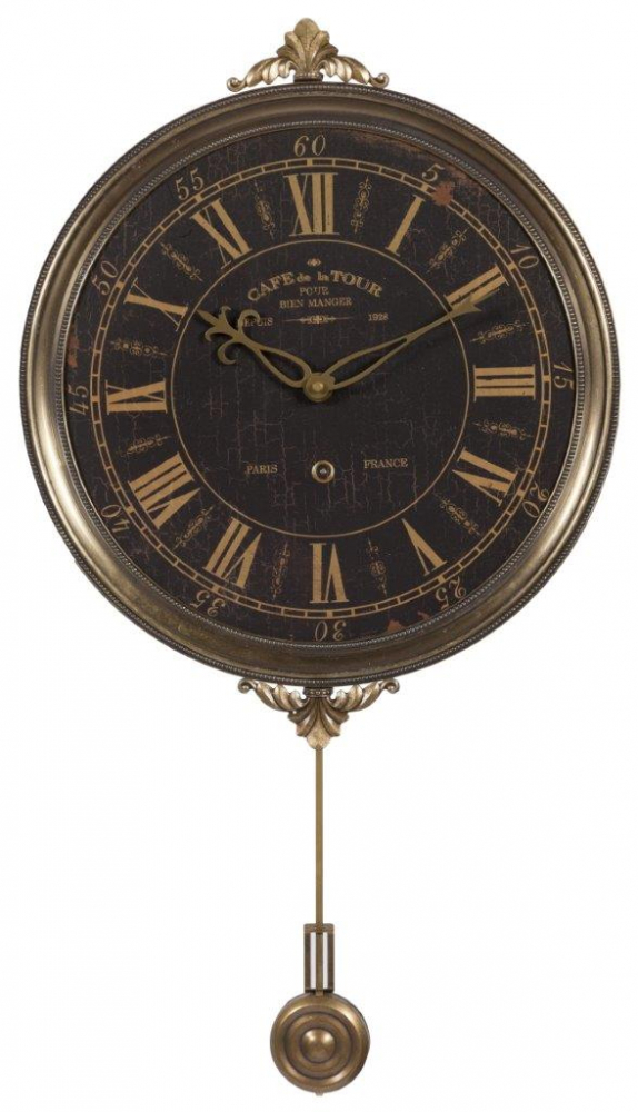Настенные часы с маятником Cafe De La TourЧасы<br>Настенные часы с маятником Cafe De La Tour придутся <br>по вкусу каждому человеку, ценящему уют <br>и комфорт. Они будут уместны в любой комнате <br>дома, оформленного в стиле Прованс, будь <br>то столовая, гостиная, спальня или прихожая. <br>Смелый коричневый циферблат и такое же <br>металлическое обрамление будут гармонично <br>сочетаться с общим интерьером, привнося <br>в него французский шик и деревенское очарование, <br>свойственные этому стилю.<br><br>Цвет: Коричневый<br>Материал: МДФ + Металл<br>Вес кг: 1,2<br>Длина см: 32<br>Ширина см: 32<br>Высота см: 2,5