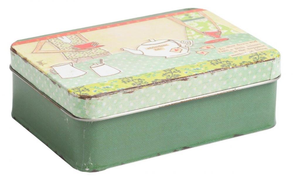 Декоративный бокс Tea TimeКоробки и кейсы для хранения<br><br><br>Цвет: Зелёный, Разноцветный<br>Материал: Металл<br>Вес кг: 0,1<br>Длина см: 15<br>Ширина см: 11<br>Высота см: 5