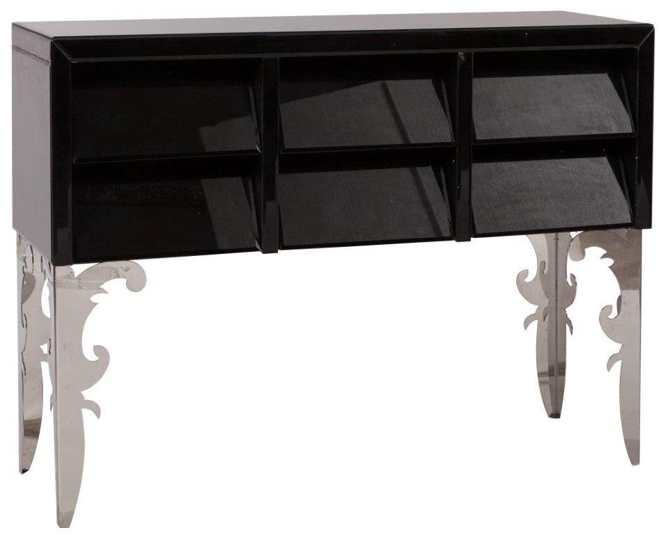Консоль FantomeТуалетные столики (консоли)<br>Консоль Fantome — ультрамодный многофункциональный <br>предмет мебели в стиле модерн, который обязательно <br>станет главным украшением вашего дома. <br>Благородное чёрное стекло и замысловатой <br>резьбы ножки из нержавеющей стали делают <br>консоль неимоверно изысканной и роскошной. <br>Кроме своего привычного назначения консоль <br>может быть использована в качестве туалетного <br>столика в спальне или оригинального письменного <br>стола в гостиной.<br><br>Цвет: Чёрный, Зеркальный<br>Материал: МДФ, Зеркало, Металл<br>Вес кг: 28<br>Длина см: 120<br>Ширина см: 40,5<br>Высота см: 87