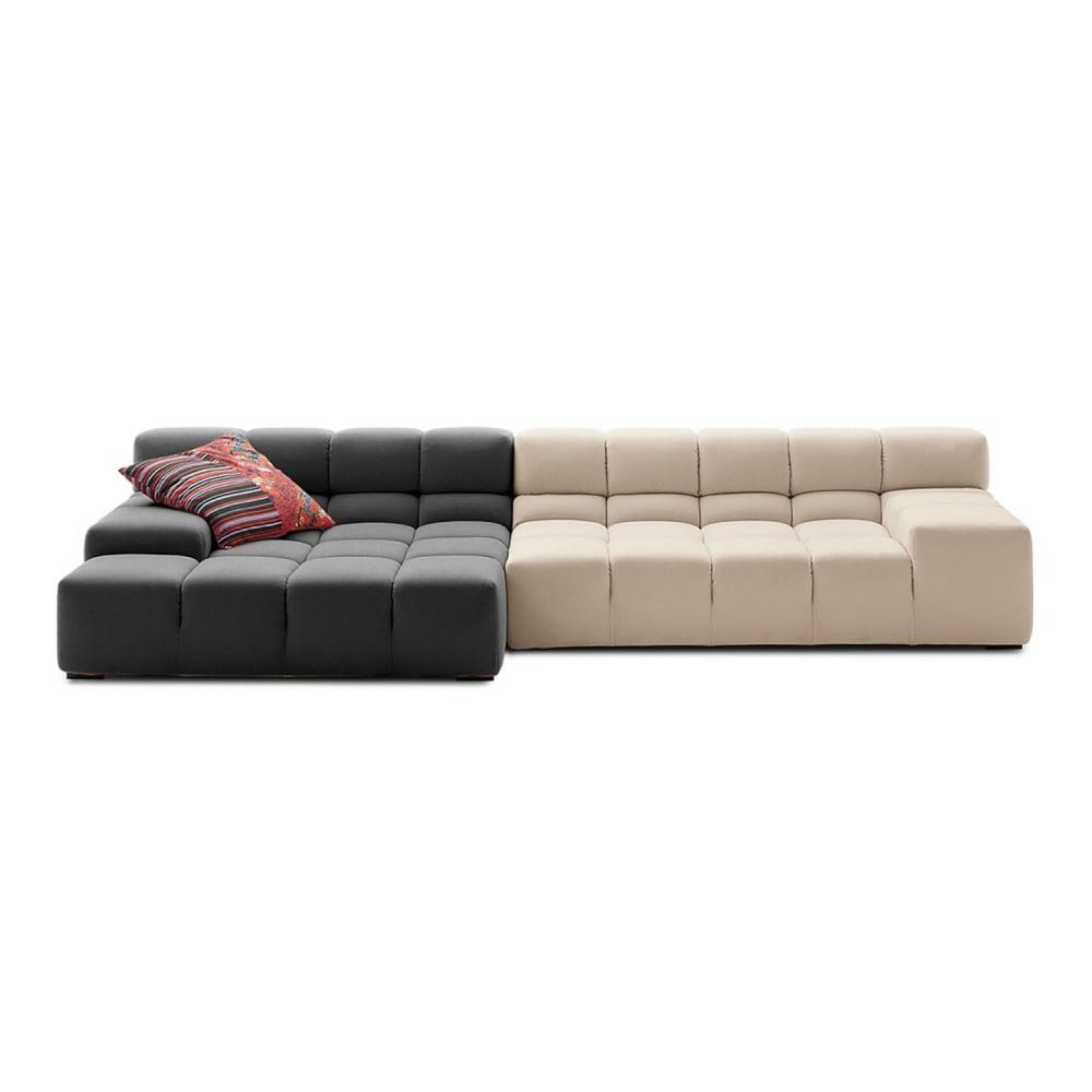 Диван Tufty-Time Sofa Серо-кремовая ШерстьДиваны<br>Диван Tufty-Time Sofa, Модель выполнена на деревянном <br>каркасе с ножками из нержавеющей стали, <br>состоит из двух разных половинок, отличающихся <br>по цвету (серый и кремовый) и по ширине, с <br>плоскими подлокотниками, наполнитель — <br>мебельный поролон, с одной декоративной <br>подушкой. Удобный аксессуар для современного <br>стиля гостиной.<br><br>Цвет: Серый, Бежевый<br>Материал: Шерсть, Дерево, Металл<br>Вес кг: 69<br>Длина см: 286<br>Ширина см: 145<br>Высота см: 76