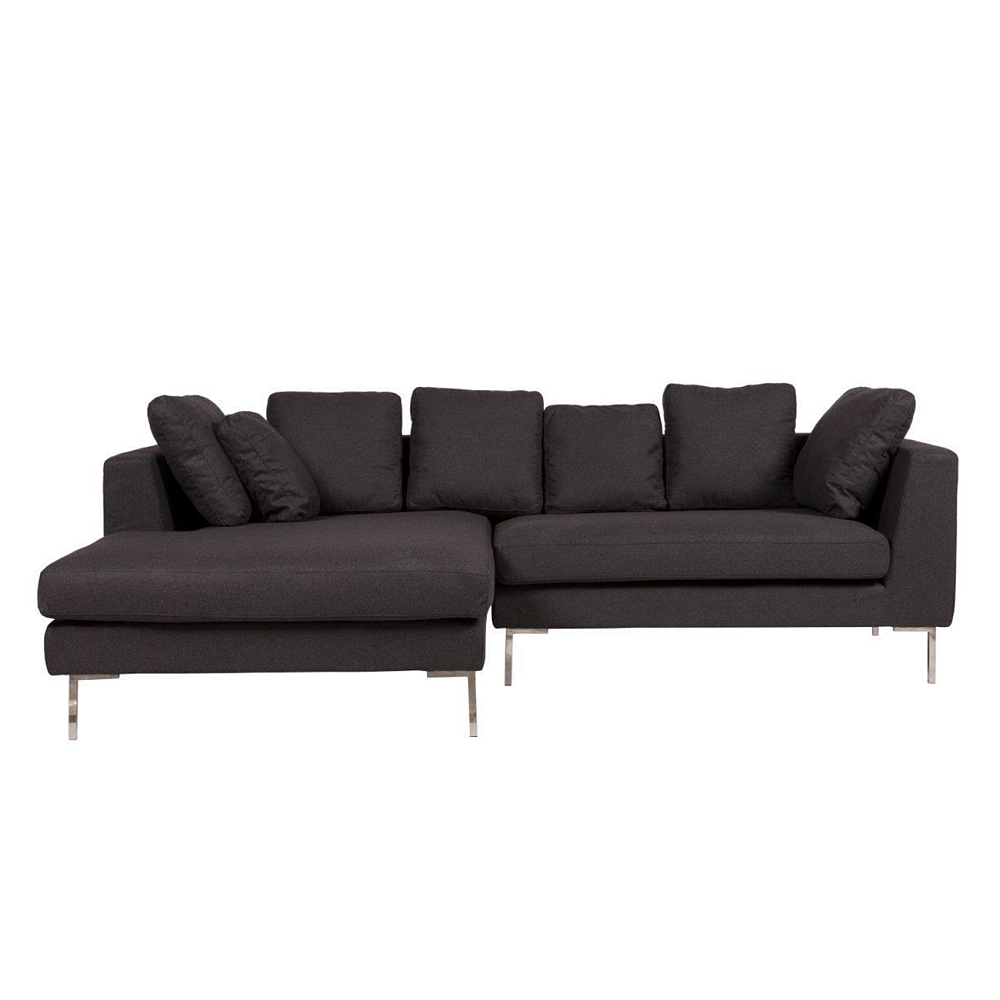 Диван Charles Sofa Sectional Left Dark GreyДиваны<br>Большой и роскошный диван-уголок Charles Large <br>Sofa непременно украсит вашу гостиную, привнесет <br>в нее уют, комфорт и шик и добавит яркости <br>и изысканности. Темно-серая обивка, мягкие <br>подушки и стальные ножки делают предмет <br>мебели не только прочным и долговечным, <br>но и неимоверно стильным. На таком диване <br>можно приятно проводить время в компании <br>близких людей или в кругу семьи.<br><br>Цвет: Тёмно-серый<br>Вес кг: 76<br>Длина см: 243<br>Ширина см: 160<br>Высота см: 69
