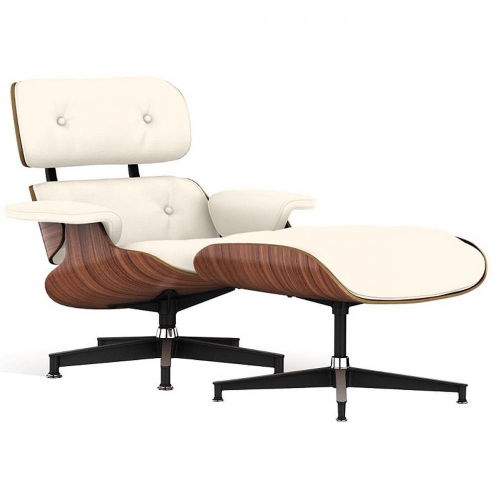 Кресло Eames Lounge Chair & Ottoman Кремовая Кожа Класса  Премиум, DG-F-ACH445-1 от DG-home