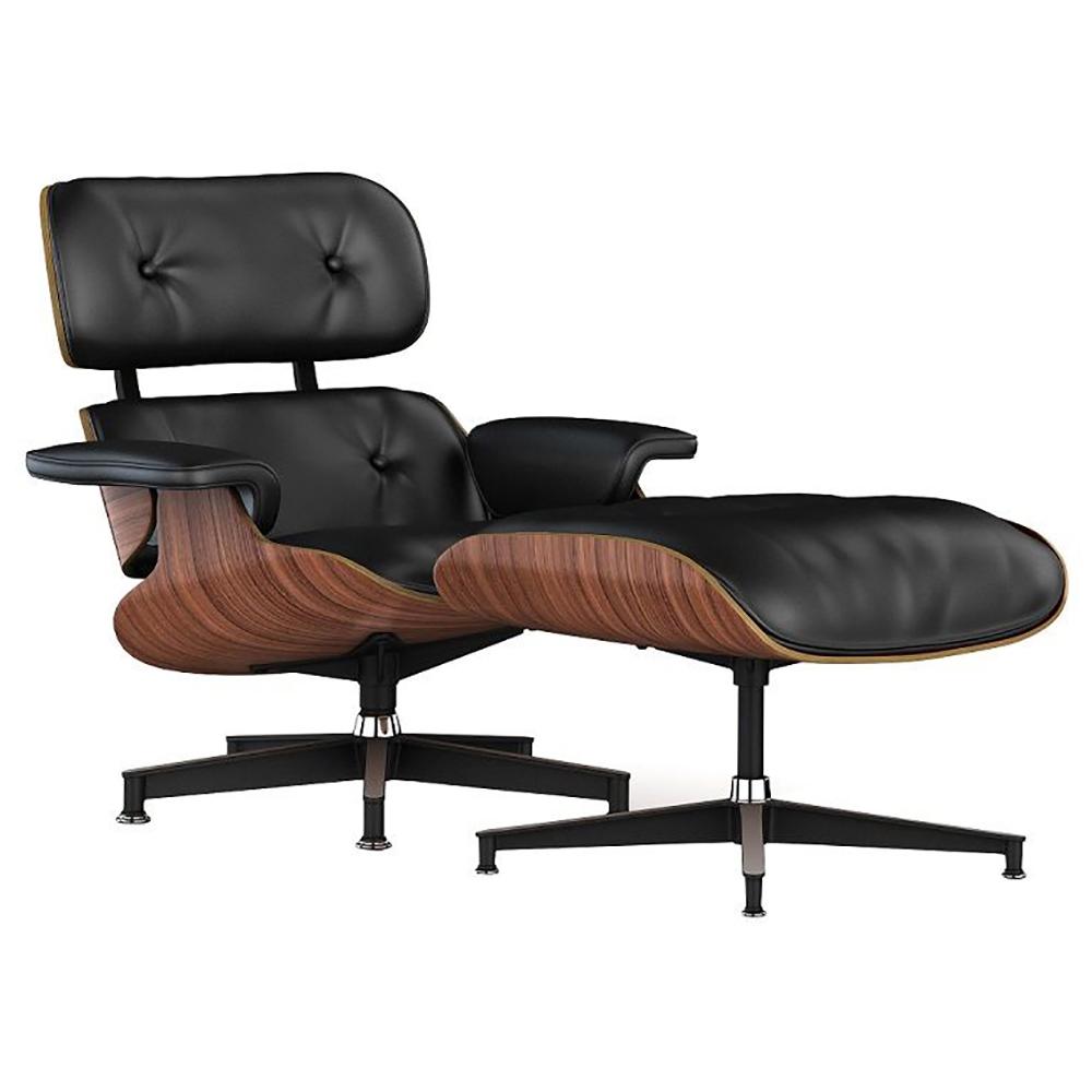 Купить Кресло Lounge Chair & Ottoman Черная Кожа Класса Премиум в интернет магазине дизайнерской мебели и аксессуаров для дома и дачи