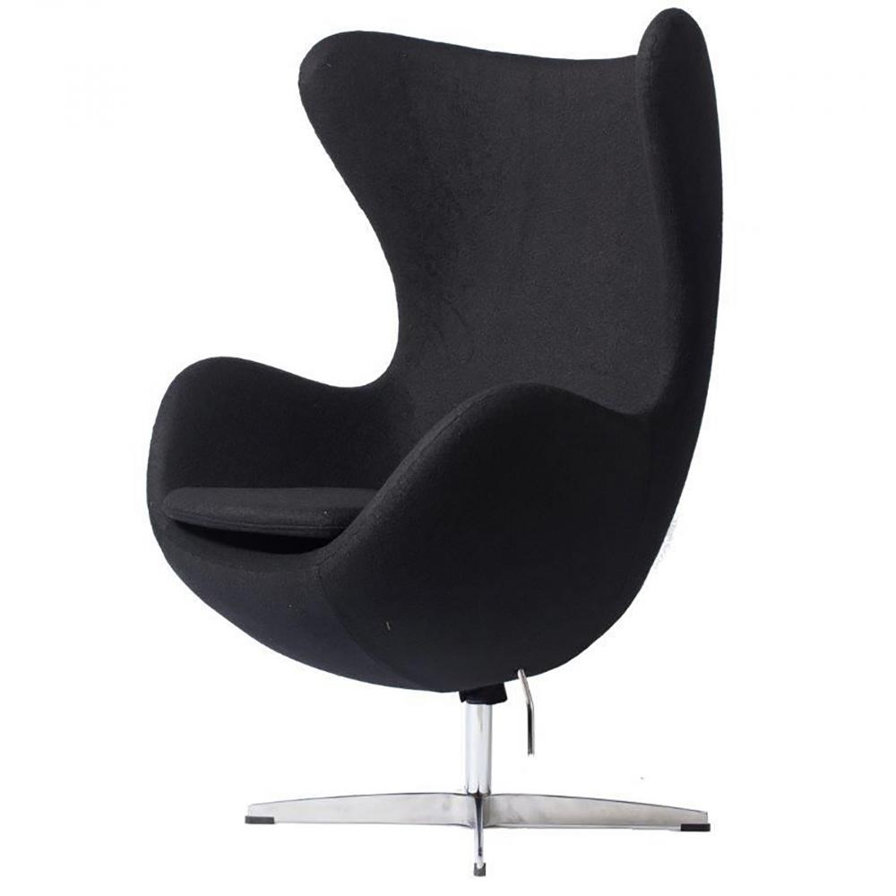 Кресло Egg Chair Чёрное 100% КашемирКресла<br>Кресло Egg Chair (Яйцо), созданное в 1958 году <br>датским дизайнером Арне Якобсеном, обладает <br>исключительной привлекательностью и узнаваемостью <br>во всем мире, занимает особое место в ряду <br>культовой дизайнерской мебели XX века. Оно <br>имеет экстравагантную форму и неординарное <br>исполнение, что позволило ему стать совершенным <br>воплощением классики нового времени. Кресло <br>Egg Chair, выполненное в форме яйца, подарит <br>огромное множество положительных эмоций <br>и заставляет обращать на него внимание. <br>Оно непременно задаёт основу для дизайна <br>того или иного помещения. Прочный и массивный <br>каркас из стекловолокна, обтянутый 100% кашемировой <br>тканью, и ножка из нержавеющей стали гарантируют <br>долгий срок службы и устойчивость. Данное <br>кресло — это поистине не стареющая классика <br>в футуристическом исполнении!<br><br>Цвет: Чёрный<br>Материал: Кашемир, Металл<br>Вес кг: 37<br>Длина см: 82<br>Ширина см: 76<br>Высота см: 105