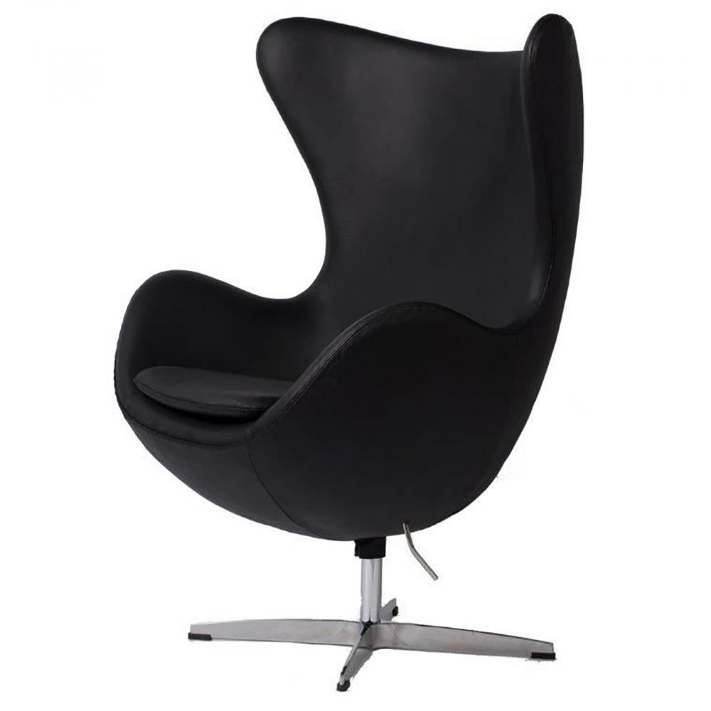 Фото Кресло Egg Chair Черная Кожа Класса Премиум. Купить с доставкой