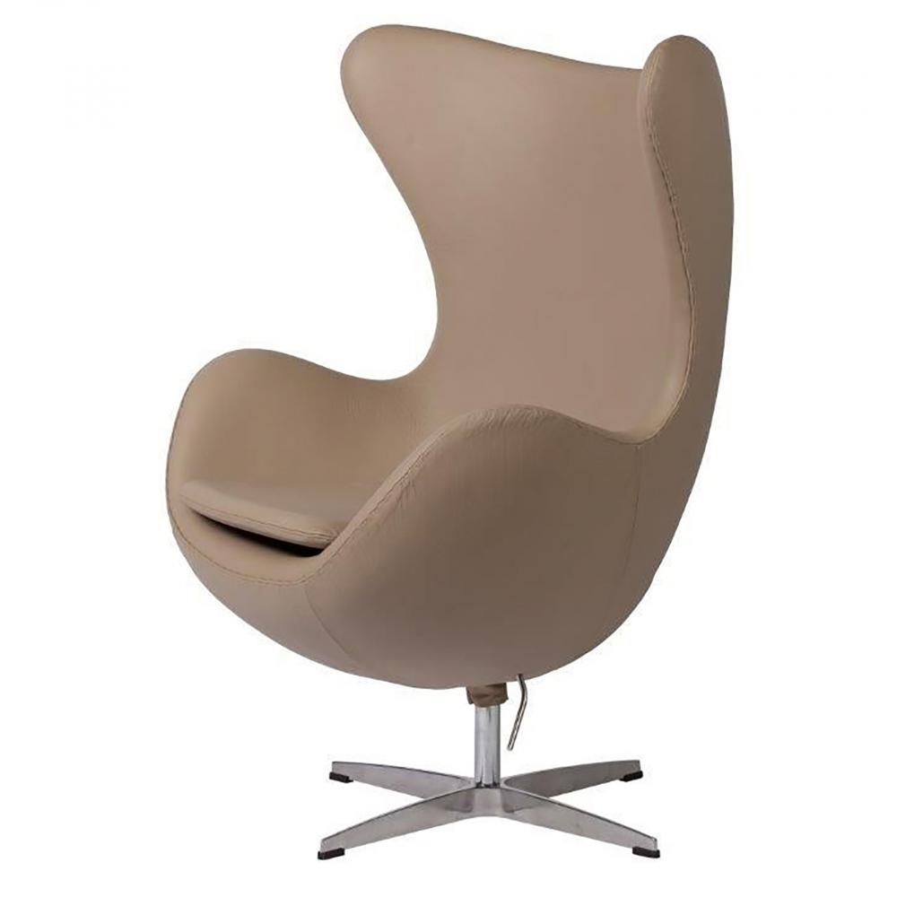 Кресло Egg Chair Темно-бежевое Кожа Класса Кресла<br>Темно-бежевый цвет мебели актуален во все <br>времена, он достаточно нейтральный, чтобы <br>удачно сочетаться с любыми другими цветами, <br>а также он не особо маркий и создает ощущение <br>уюта. Это кресло имеет необычную округлую <br>форму, благодаря которой модель и получила <br>свое название. Высокая спинка, удобные подлокотники <br>и крутящаяся ножка делают это кресло идеальным <br>выбором для офиса или рабочего кабинета.<br><br>Цвет: Тёмно-бежевый<br>Материал: Натуральная Кожа, Металл<br>Вес кг: 37<br>Длина см: 82<br>Ширина см: 76<br>Высота см: 105