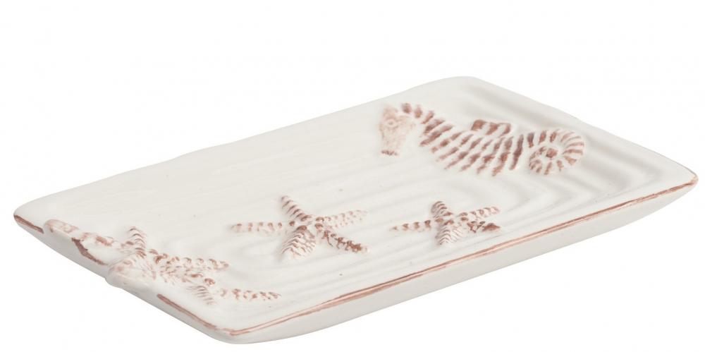 Декоративное блюдо StarfishСервировка стола<br>Из мелочей, как правило, создается истинная <br>красота! Декоративное блюдо из доломита <br>Starfish — это изящный предмет декора, который <br>также станет отличным помощником в хозяйстве. <br>Оригинальные морские мотивы, в которых <br>оформлен аксессуар, не оставят равнодушным <br>ни одного ценителя уникальных вещей. Такой <br>поднос можно приобрести как самостоятельный <br>предмет, так и в комплекте с аксессуарами <br>этой же коллекции.<br><br>Цвет: Белый<br>Материал: Доломит<br>Вес кг: 0,2<br>Длина см: 15,8<br>Ширина см: 9,199999999999999<br>Высота см: 2