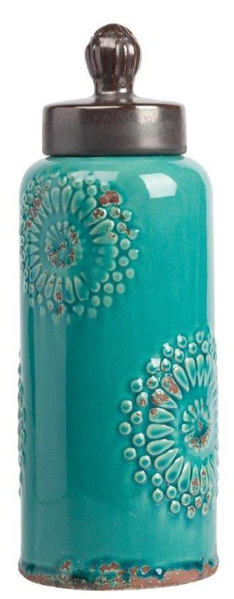 Декоративная банка Menhindi БольшаяКухонные принадлежности<br>Декоративная банка Menhindi Grande — это изысканная <br>ёмкость, выполненная в модном стиле Прованс: <br>изготовлена из керамики, по всей поверхности <br>имеет искусственные потертости, неброский <br>зелёный цвет и незамысловатая лепка в виде <br>цветов на боках аксессуара. В такой банке <br>вы сможете хранить сыпучие продукты питания <br>или просто нужные безделушки.<br><br>Цвет: Голубой<br>Материал: Грубая керамика<br>Вес кг: 1,3<br>Длина см: 12,7<br>Ширина см: 12,7<br>Высота см: 35,5