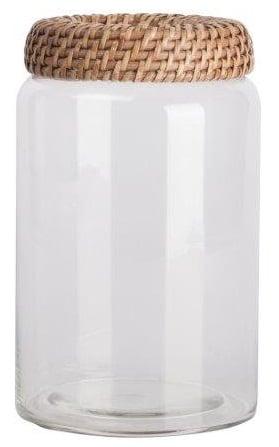 Емкость для хранения Panier MediaКухонные принадлежности<br>Ёмкость для хранения Panier Grande выполнена <br>из прозрачного стекла с винтовой металлической <br>крышкой коричневого цвета. ёмкость среднего <br>размера, но довольно вместительна и надежно <br>закрывается. Очень удобная, совершенно <br>безопасная, пригодная для длительного использования, <br>ёмкость предназначена для хранения сыпучих <br>и жидких продуктов. Приобретите её в комплекте <br>с другими емкостями из этой коллекции — <br>и вы получите замечательный и стильный <br>набор для своей кухни!<br><br>Цвет: прозрачный, коричневый<br>Материал: Стекло, Металл<br>Вес кг: 0,6<br>Длина см: 10<br>Ширина см: 10<br>Высота см: 20
