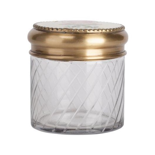Декоративная банка Lubinier Media, DG-D-910BКухонные принадлежности<br>На стеклянную декоративную банку Lubinier Media нанесён изумительный рифленый рисунок. На металлической, золотого цвета, крышке нанесён изысканный рисунок в красном цвете. Благодаря изумительному дизайну, банка станет отличным украшением любого стиля интерьера кухни. Приобретите её в комплекте с другими емкостями из этой коллекции — и вы получите замечательный и стильный набор для своей кухни!<br><br>Цвет: Золото, Прозрачный<br>Материал: Стекло, Металл<br>Вес кг: 0.47<br>Длинна см: 12<br>Ширина см: 12<br>Высота см: 11