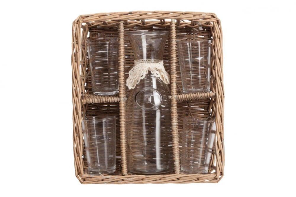 Набор для пикника в плетеной корзинке PicnicКухонные принадлежности<br>Набор для пикника в корзинке — очень удобная <br>и незаменимая вещь при выезде на природу. <br>Корзинка компактно уместит посуду и все <br>необходимые продукты, предохранит от нечаянных <br>ударов и выгодно дополнит сервировку пикника. <br>Безусловно будет прекрасным подарком для <br>любителей отдыха на природе.<br><br>Цвет: Прозрачный, Коричневый, Бежевый<br>Материал: Стекло, Дерево<br>Вес кг: 1,7<br>Длина см: 33,53<br>Ширина см: 29,21<br>Высота см: 12,19