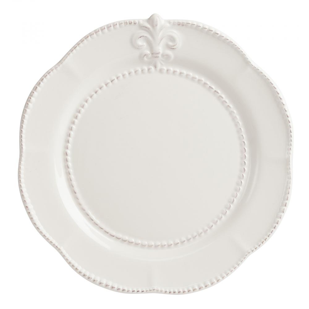 Тарелка Tess CreamТарелки<br>Изысканная керамическая тарелка Tess Cream <br>изготовлена в кремовом цвете, с краями в <br>виде лепестков. Тарелка украшена по краю <br>рельефным рисунком в виде геральдической <br>лилии, благодаря этому она выглядит элегантно, <br>её можно сочетать с любым стилем декорирования. <br>Тарелку можно приобрести как отдельно, <br>так и в дополнение к другим предметам из <br>коллекции Tess.<br><br>Цвет: Бежевый<br>Материал: Грубая керамика<br>Вес кг: 0,5<br>Длина см: 24,13<br>Ширина см: 24,13<br>Высота см: 1