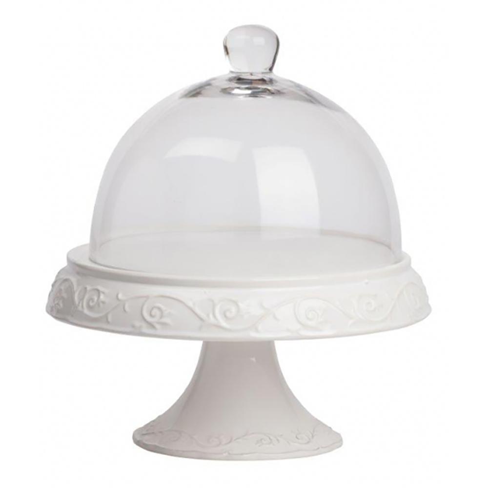 Сервировочный поднос с куполом Jovanotti БелыйСервировка стола<br>Круглый сервировочный поднос со стеклянным <br>куполом Jovanotti применим для подачи блюд заданной <br>температуры. Корпус сделан из нержавеющей <br>стали в белом цвете. Практичный и красивый <br>дизайн позволит подать к столу изысканные <br>блюда или напитки. Можно использовать как <br>дома, так и в ресторане или кафе.<br><br>Цвет: Белый<br>Материал: Металл, Стекло<br>Вес кг: 2,5<br>Длина см: 31<br>Ширина см: 31<br>Высота см: 36