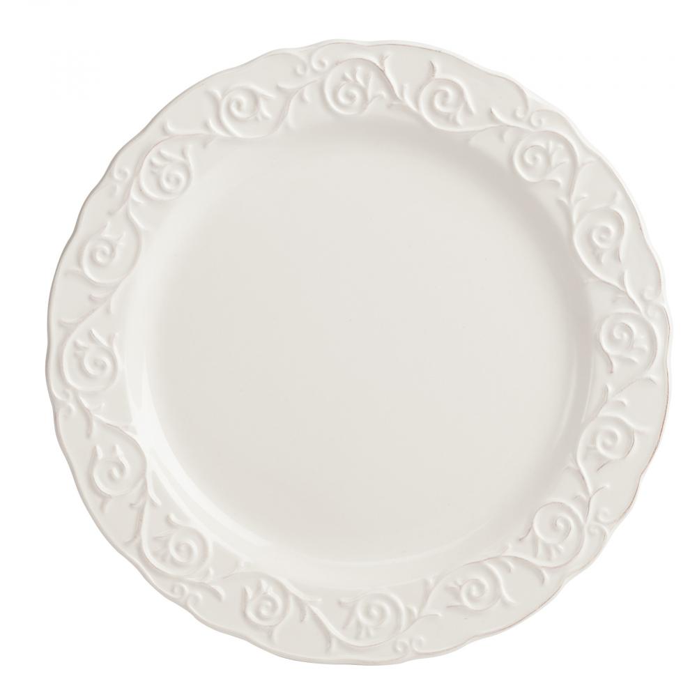 Тарелка JovanottiТарелки<br>Изысканная керамическая тарелка Jovanotti <br>изготовлена в белом цвете. Тарелка обрамлена <br>по краю рельефным рисунком, благодаря чему <br>она выглядит элегантно, её можно сочетать <br>с любым стилем декорирования. Тарелку можно <br>приобрести как отдельно, так и в дополнение <br>к другим предметам этой же коллекции.<br><br>Цвет: Белый<br>Материал: Грубая керамика<br>Вес кг: 0,5<br>Длина см: 24,13<br>Ширина см: 24,13<br>Высота см: 1