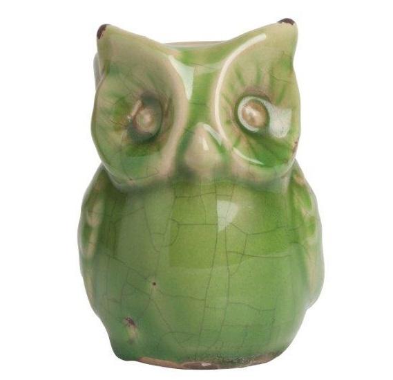 Предмет декора Vincenzo Olive, DG-D-956CСтатуэтки<br>Для любителей старины активно используются методы состаривания предметов декора, что наглядно просматривается на этой зелёной фигурке совы. Сова покрыта превосходной эмалью с легкими трещинами, как элемент декора, ждет своего покупателя, будет трогательно смотреться в интерьере вашего дома.<br><br>Цвет: Зелёный<br>Материал: Керамика<br>Вес кг: 0.2<br>Длинна см: 9<br>Ширина см: 9<br>Высота см: 12,67