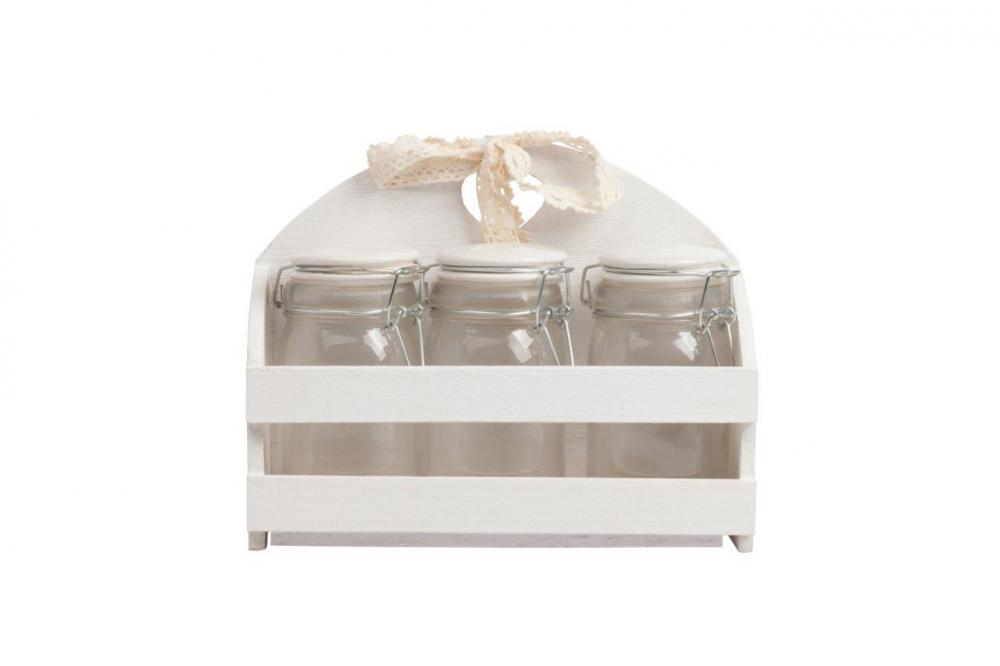 Набор декоративных банок на подставке Кухонные принадлежности<br>Набор из трех стеклянных банок с плотно <br>закрывающимися крышками очень практичен, <br>идеально подойдёт для хранения сыпучих <br>продуктов и гармонично впишется в интерьер <br>кухни в стиле Прованс. Благодаря изящной <br>подставке все предметы набора будут храниться <br>в одном месте.<br><br>Цвет: Прозрачный, Белый, Бежевый<br>Материал: Стекло, МДФ<br>Вес кг: 1<br>Длина см: 24<br>Ширина см: 9<br>Высота см: 19