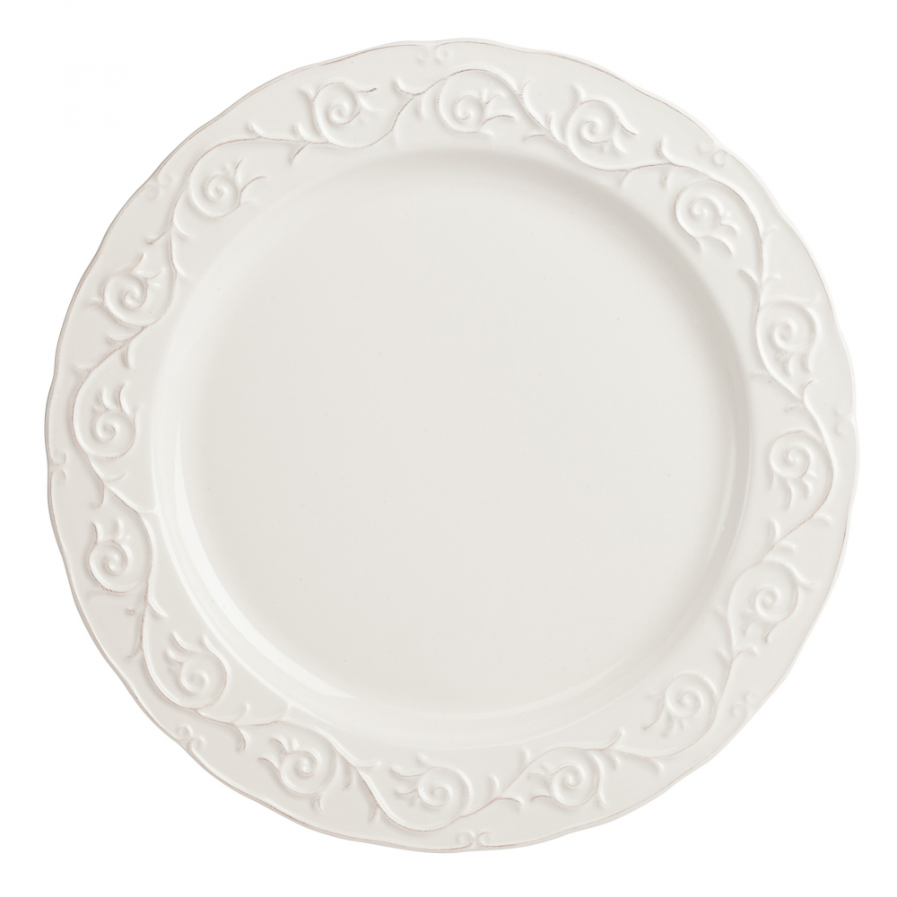 Большая тарелка JovanottiТарелки<br>Строгая и элегантная большая тарелка Jovanotti <br>белого цвета, выполненная из грубой керамики <br>и декорированная утонченными рельефными <br>узорами, украсит любой стол, сервированный <br>к важному торжеству или приему гостей. Подойдет <br>для любой современной композиции сервировки <br>стола.<br><br>Цвет: Белый<br>Материал: Грубая керамика<br>Вес кг: 0,8<br>Длина см: 27,94<br>Ширина см: 27,94<br>Высота см: 1