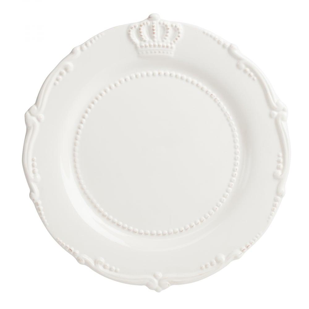 Большая тарелка AishaТарелки<br>Элегантная белая тарелка Aisha в стиле Прованс <br>выполнена из грубой керамики и декорирована <br>рельефными изображением короны, окантована <br>выпуклым рисунком, благодаря чему она станет <br>украшением любого стола, сервированного <br>к празднику или приему гостей. Также тарелка <br>может служить самостоятельным элементом <br>декора. Ее можно приобрести как отдельно, <br>так и в дополнение к другим предметам коллекции <br>Aisha.<br><br>Цвет: Белый<br>Материал: Грубая керамика<br>Вес кг: 0,8<br>Длина см: 29,21<br>Ширина см: 29,21<br>Высота см: 1