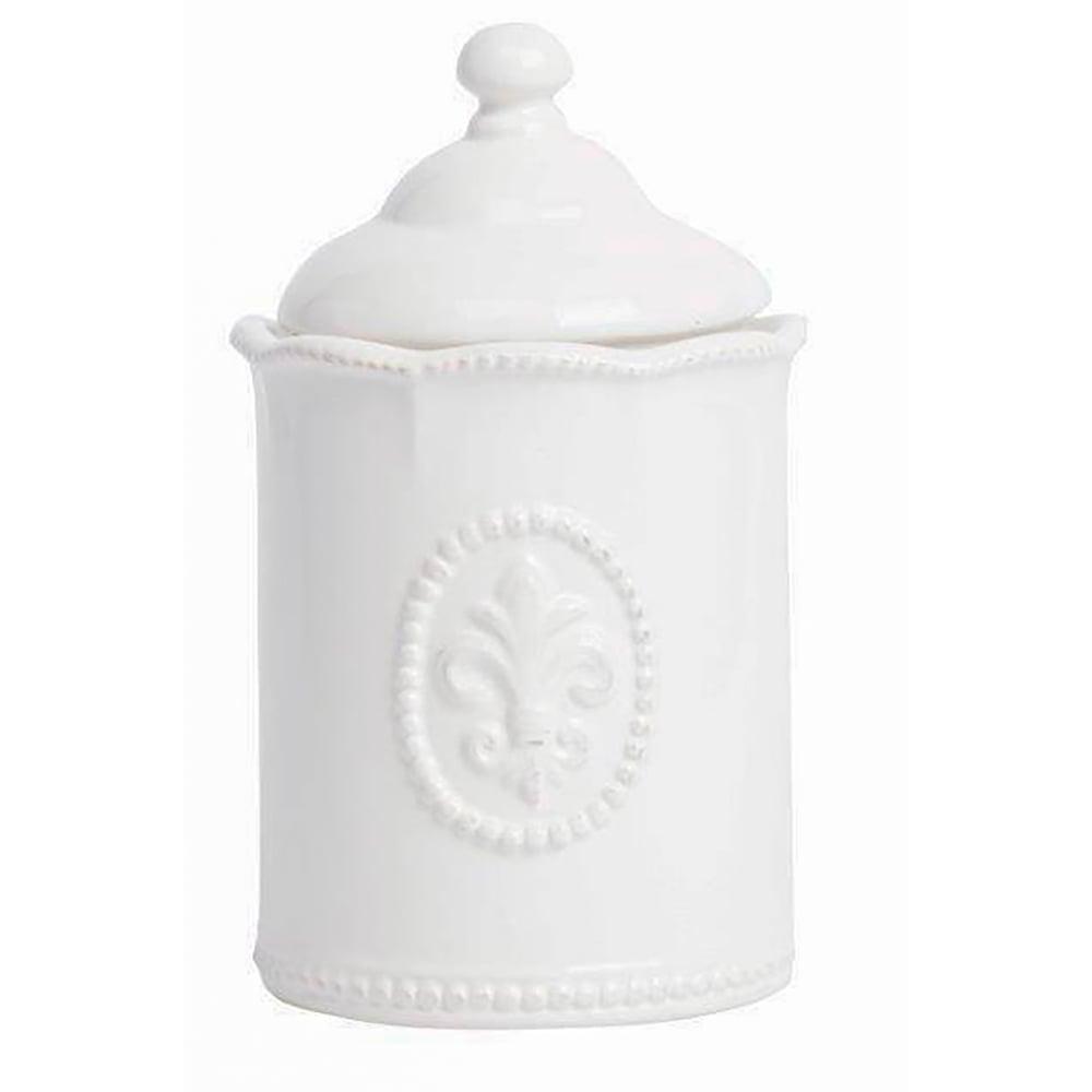 Емкость для хранения Tess Cream, DG-D-939Кухонные принадлежности<br>Ёмкость для хранения Tess Cream выполнена из <br>керамики, покрыта глазурью белого цвета, <br>декорирована выпуклым рисунком в виде геральдической <br>лилии, изготовлена из совершенно безопасного <br>натурального материала. ёмкость предназначена <br>для хранения сыпучих и жидких продуктов. <br>Впишется в любой стиль интерьера.<br><br>Цвет: None<br>Материал: None<br>Вес кг: 0.8