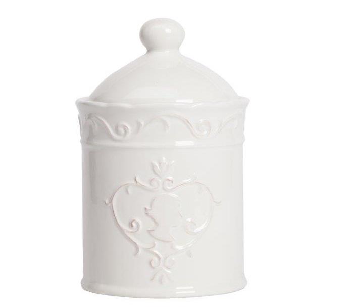 Емкость для хранения LadyКухонные принадлежности<br>Ёмкость для хранения Lady выполнена из керамики, <br>покрытой глазурью белого цвета, декорирована <br>изящным выпуклым рисунком с женским профилем. <br>ёмкость изготовлена из совершенно безопасного <br>натурального материала, предназначена <br>для хранения сыпучих и жидких продуктов.<br><br>Цвет: Белый<br>Материал: Керамика<br>Вес кг: 0,7<br>Длина см: 11,94<br>Ширина см: 11,94<br>Высота см: 18,54