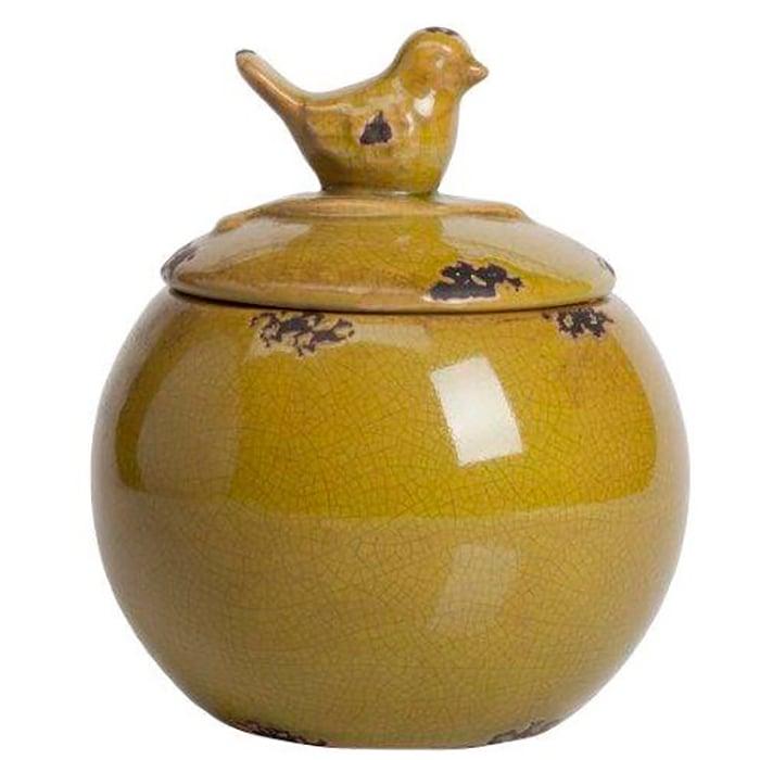 Декоративная банка Furla OliveКухонные принадлежности<br>Посуда в стиле Прованс обязательно должна <br>быть искусственно состаренной, с трещинками, <br>потертостями, и нести в себе особый дух <br>и отпечаток времени. Керамическая декоративная <br>банка Furla Olive украсит вашу кухню и придаст <br>ей французский деревенский колорит. Провинциальность <br>чувствуется в каждой детали предмета декора, <br>начиная крышкой с ручкой в виде милой птички <br>и заканчивая формой изделия. Благодаря <br>лаконичному декору, банка станет отличным <br>украшением любого стиля интерьера кухни.<br><br>Цвет: Зелёный<br>Материал: Керамика<br>Вес кг: 1<br>Длина см: 15,24<br>Ширина см: 15,24<br>Высота см: 17,78