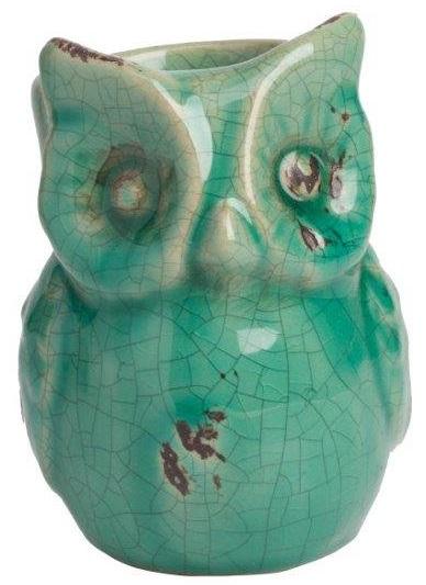 Предмет декора статуэтка сова Vincenzo AquaСтатуэтки<br>Элемент декора Vincenzo изготовлен из искусственно <br>потрескавшейся керамики, в немного состаренном <br>аквамариновом цвете. Маленькая сова с одним <br>смотрящим глазом (второй стерся с течением <br>времени) будет трогательно смотреться в <br>интерьере вашего дома.<br><br>Цвет: Зелёный<br>Материал: Керамика<br>Вес кг: 0,2<br>Длина см: 8<br>Ширина см: 7<br>Высота см: 11