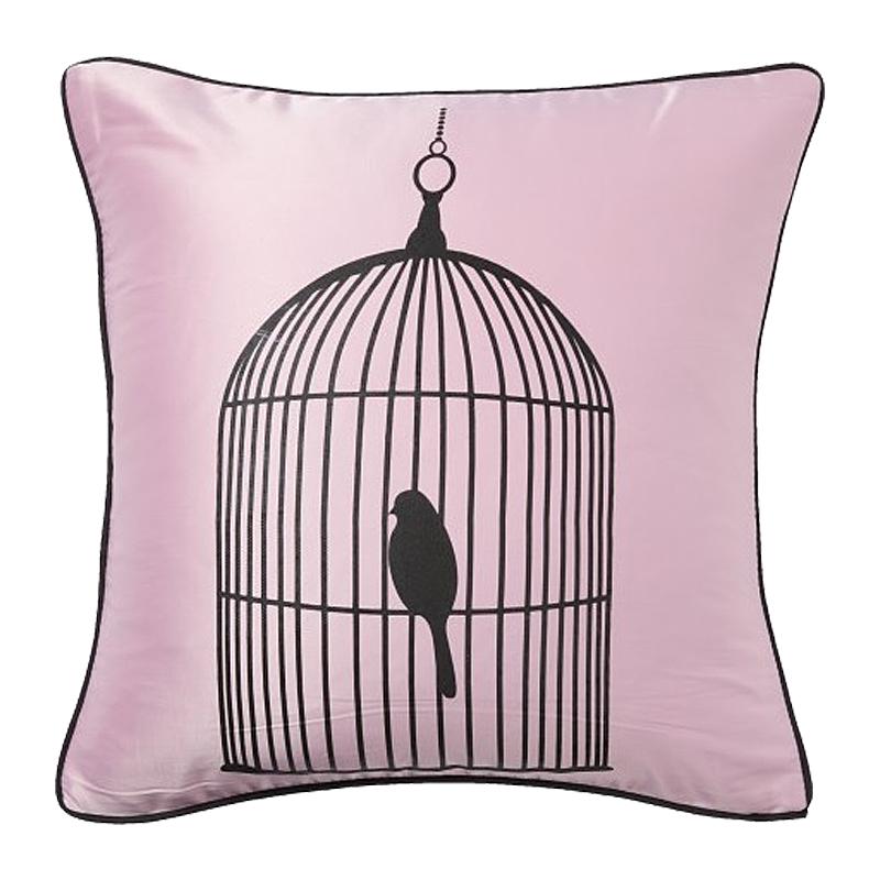 Подушка с птичкой в клетке Birdie In A Cage Pink