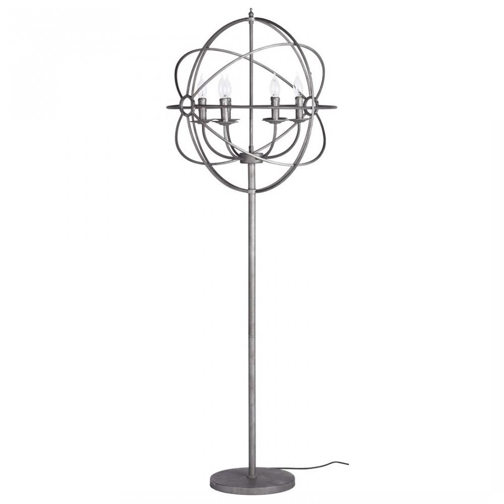 Торшер Foucaults OrbТоршеры и напольные светильники<br>Торшер Foucaults Orb — превосходный выбор для <br>любителей простых, но в то же время изобретательно <br>исполненных интерьерных вещей. Торшер выполнен <br>полностью из металла. Он устанавливается <br>на пол на небольшое круглое основание, имеет <br>тонкую ножку, а вместо абажура на этой ножке <br>расположены металлические окружности, <br>которые вместе образуют сферическую форму. <br>Внутри этой сферы находятся сами лампочки, <br>которые издалека по форме напоминают свечки.<br><br>Цвет: Хром<br>Материал: Металл<br>Вес кг: 12,5<br>Длина см: 64<br>Ширина см: 64<br>Высота см: 164