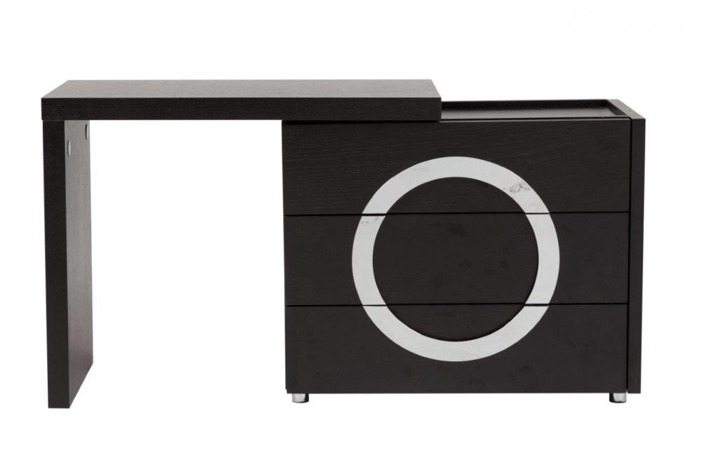 Туалетный столик Towens Black DG-HOME Туалетный столик Towens отлично подходит  для современной леди, которая любит выглядеть  красиво и ценит удобство в интерьере. Отличающийся  оригинальным и выразительным дизайном  раздвижной туалетный столик в благородном  чёрном цвете гармонично впишется в интерьер  в стиле модерн. Спереди он имеет три функциональных  отделения, посередине расположен декор  в форме круга серебристого цвета. Благодаря  удобной столешнице и трем выдвижным ящикам  все необходимые вещи и мелочи можно будет  хранить в одном месте.