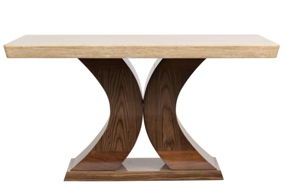 Обеденный стол Fabrice Grande, DG-F-TB101-1Обеденные столы<br>Этот обеденный стол представляет собой результат творческой дизайнерской мысли и воплощает современные тенденции. Сейчас в моде достаточно грубый стиль — мебель, которая выглядит, как будто она сделана мастерами вручную. Стол Fabrice выглядит основательно. Его столешница сделана из натурального мрамора, а фигурные ножки в форме полукругов — из МДФ и буковой фанеры.<br><br>Цвет: Бежевый<br>Материал: МДФ, Дерево, Мрамор<br>Вес кг: 60<br>Длинна см: 95<br>Ширина см: 165<br>Высота см: 80