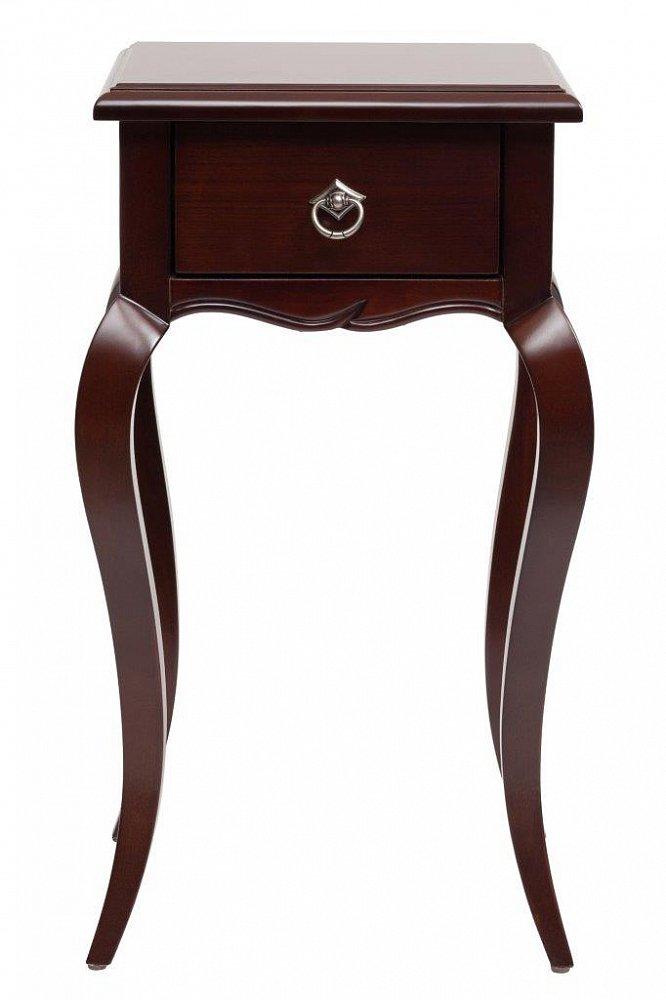Столик для цветов Josephine Grande DG-HOME Прекрасная возможность для создания определенного  стиля — столик для цветов Josephine. Изящный  столик небольшого размера из благородного  бука тёмно-коричневого цвета со столешницей  из МДФ, в которую встроен удобный выдвижной  ящичек для разных мелочей. Украшают его  красиво изогнутые длинные ножки, кроме  того фурнитура и сдержанный декор дополняют  благородный дизайн изделия. В гостиной  или спальне живые цветы — это всегда лучший  декор, однако не всегда уместно ставить  их на журнальный столик или полки. Лучше  всего использовать для этого специальный  столик для цветов Josephine, тем более если он  смотрится так элегантно, как эта модель!