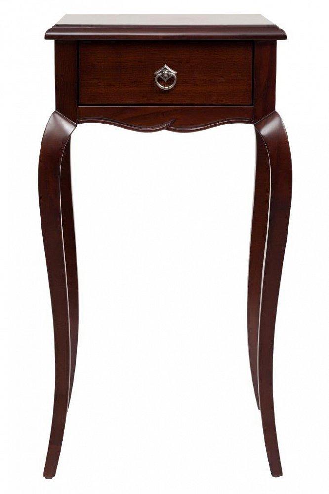 Столик для цветов Josephine Medio DG-HOME Прекрасная возможность для создания определенного  стиля — столик для цветов Josephine. Изящный  столик небольшого размера из благородного  бука тёмно-коричневого цвета со столешницей  из МДФ, в которую встроен удобный выдвижной  ящичек для разных мелочей. Украшают его  красиво изогнутые длинные ножки, кроме  того фурнитура и сдержанный декор дополняют  благородный дизайн изделия. В гостиной  или спальне живые цветы — это всегда лучший  декор, однако не всегда уместно ставить  их на журнальный столик или полки. Лучше  всего использовать для этого специальный  столик для цветов Josephine, тем более если он  смотрится так элегантно, как эта модель!