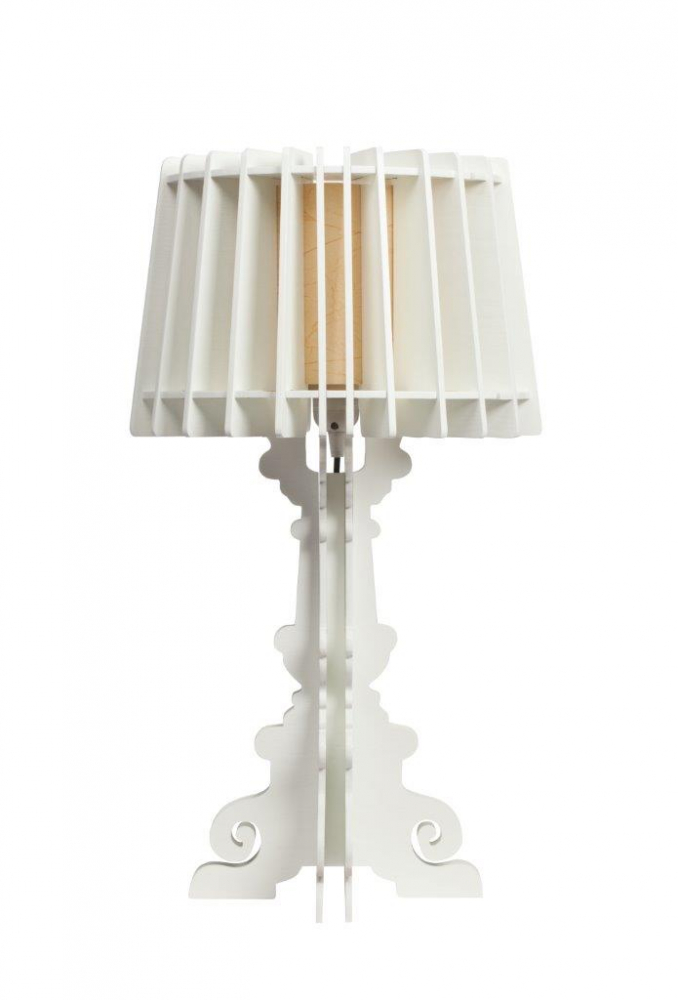Настольная лампа Bordja White DG-HOME Настольная лампа Bordja White имеет оригинальную  и ультрамодную форму, но при этом выполнена  из дерева, поэтому она придает чувство уюта  и комфорта интерьеру. Абажур лампы выполнен  из тонких дощечек, а резная вычурная ножка  смотрится оригинально и стильно, а белый  цвет традиционно освежает интерьер. Это  прекрасная альтернатива современным лампам  из стекла и пластика. Особенно интересно  такая деталь интерьера будет выглядеть  в деревянном загородном доме. Купите настольную  лампу Bordja White — воплощение смелых дизайнерских  идей, воздушности и современного аристократизма!
