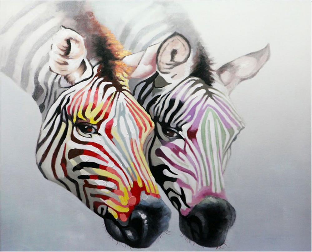 Картина маслом  Обояние зебр