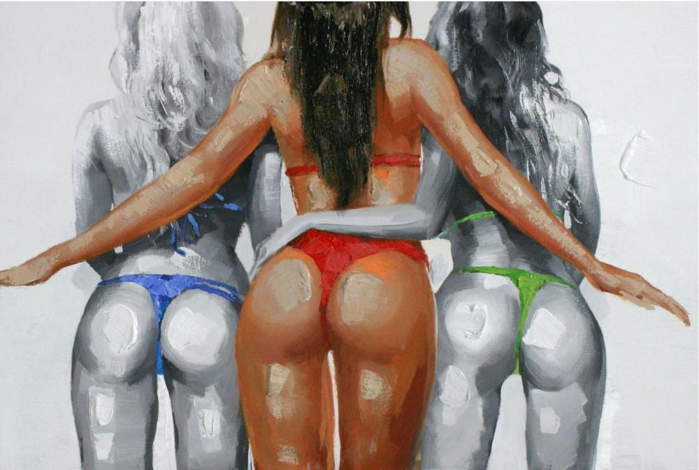 Картина маслом  Трио на пляже