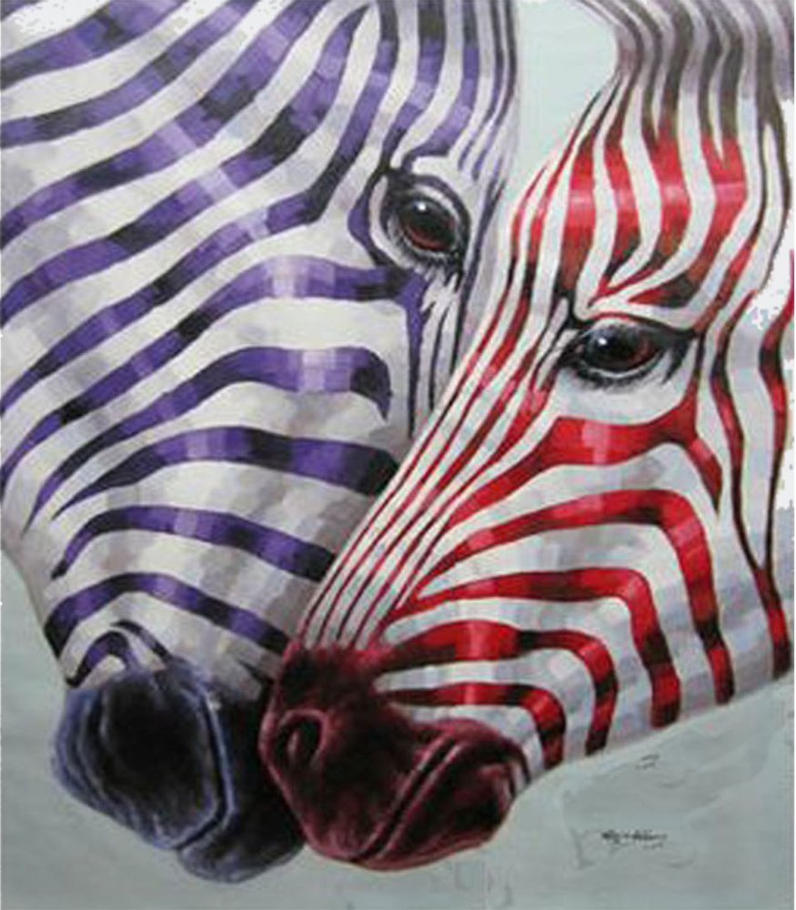 Картина маслом  Разноцветная зебра