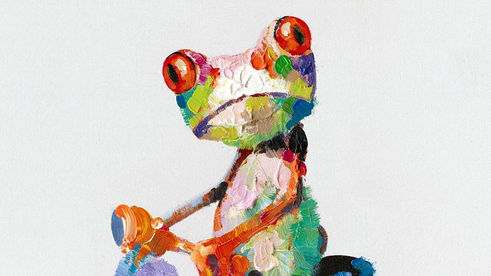 Картина маслом  Лягушка и мопед