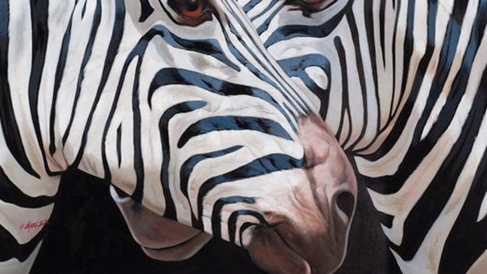 Картина маслом  Отражение зебры