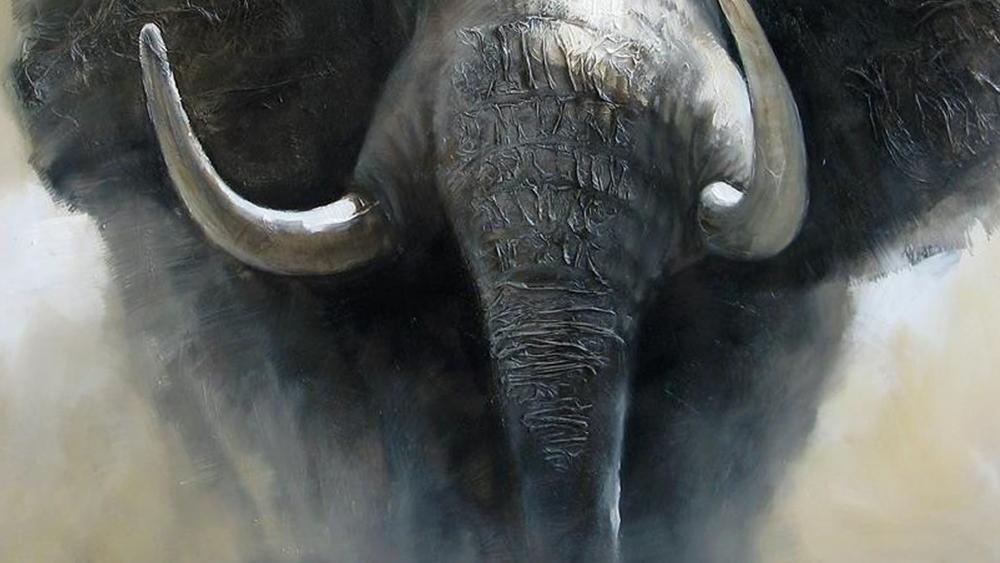 Картина маслом  Слон -2