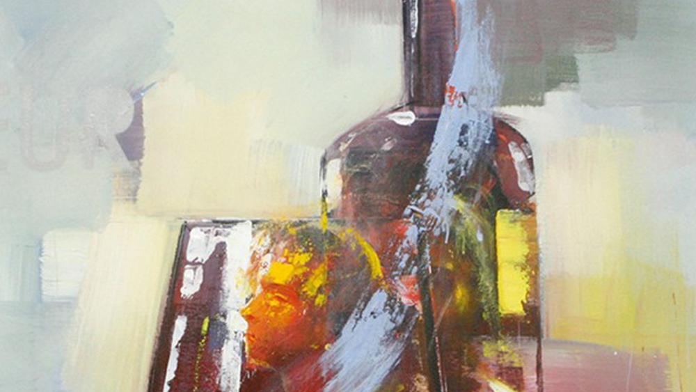 Картина маслом  Стакан и бутылка