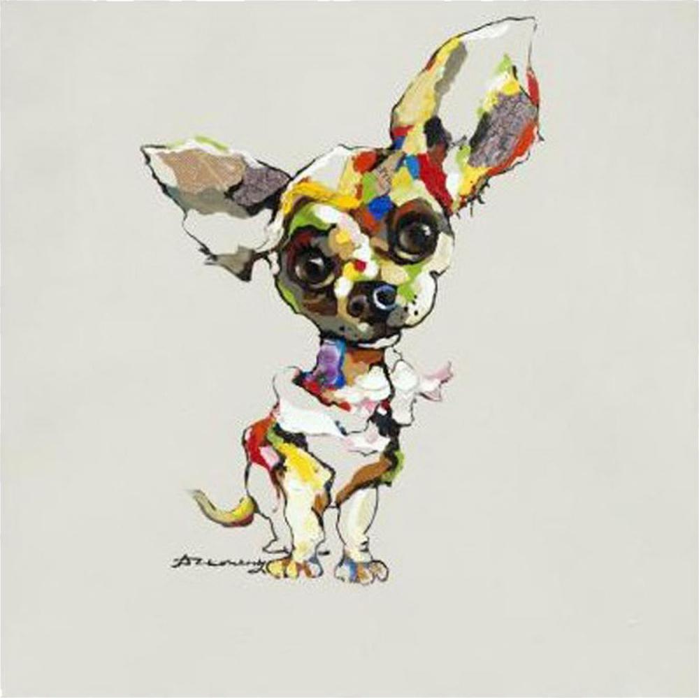 Картина маслом  Собака слушает - 2