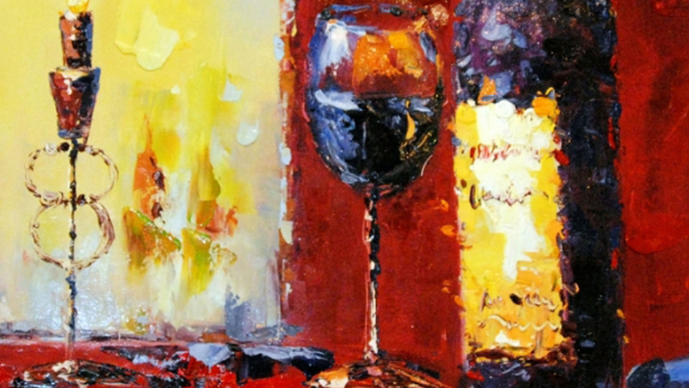 Картина маслом  Вино и свечи - 2