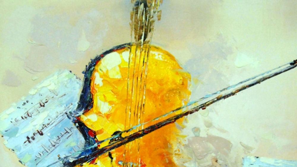 Картина маслом  Контрабас