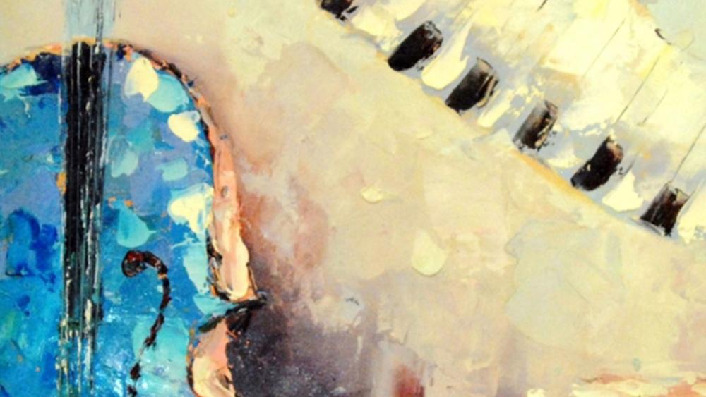 Картина маслом  Синий контрабас