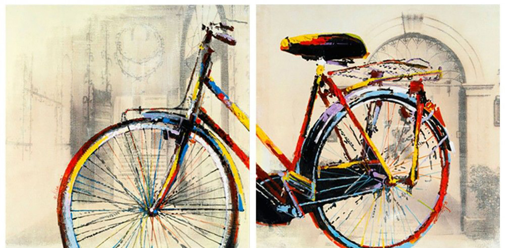 Картина маслом  Модулная картина Велосипед