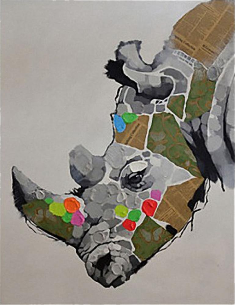 Картина маслом  Носорог - 2